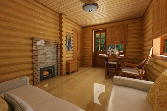 Дизайн и отделка комнаты отдыха в бане