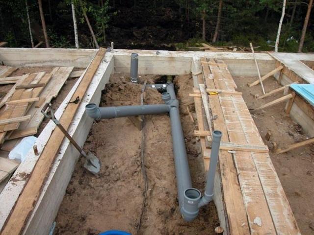 системы отвода и слива воды из бани