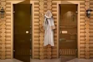 Стеклянная дверь в сауну и баню: достоинства, классификация, технология монтажа